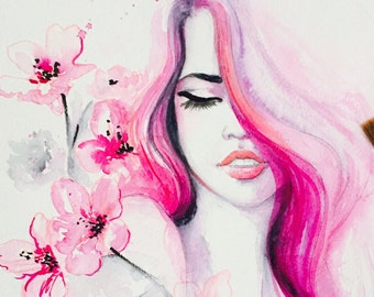 Cherry Blossom, Fashion Art, Fashion Illustration, Fashion Watercolor, Blossom Beauty, Original Painting by Lana Moes, Pink Art