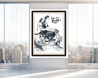 Ride Art Print Watercolor, Romantic Collection, Bike Fine Art, Love, Art Print, Gift for Both, Love Kiss Romantic Poster