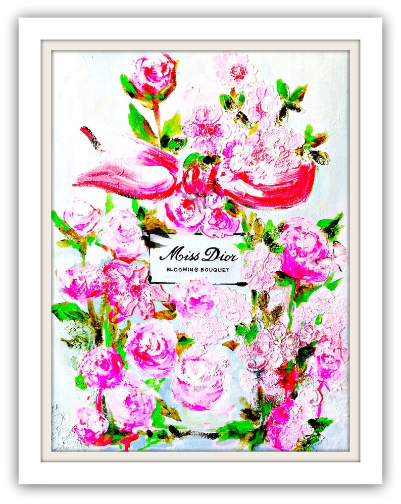 6bf956a5d Fashion Illustration Art Print on Canvas Miss Dior by Lana | Etsy