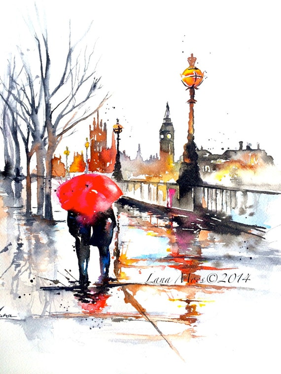 london travel watercolor illustration print from original etsy