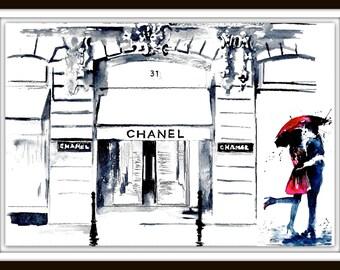 Chanel Love in Paris Watercolor Illustration, Parisian Cityscape, Romantic Bliss by Lana Moes, Fashion Illustration, Rue Cambon Art Print
