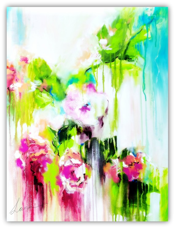 flowers painting abstract floral canvas art by lana moes etsy