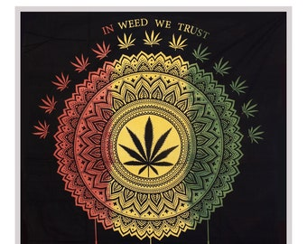 wholesale dealer 8deb9 cd670 Tie dye Cannabis Leaf Wall Hanging Marijuana Dream Catcher Tapestry Hand  Printed Beach Throw Weed Decor Black Queen Bedspread