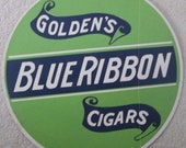Goldin 39 s Blue Ribbon Cigars fan pull advertising sign near mint condition 1940 39 s