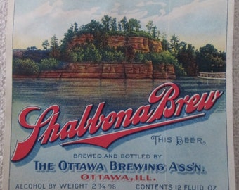 Rare Early Shabbona Brew Beer Bottle Label circa early 1900's