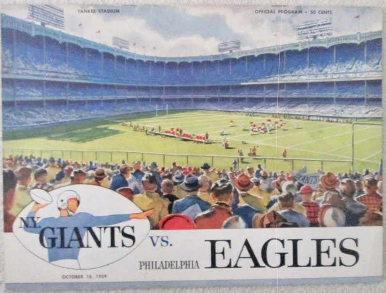 Official 1959 New York Giants 3 different football programs  excellent condition