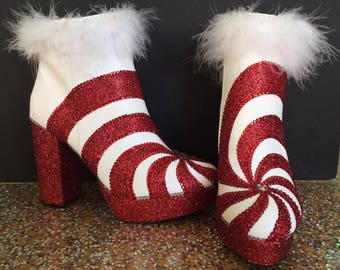 red and white boots/ peppermint boots/ candy cane boots/ holiday boots/ mrs claus boots/ christmas boots/ glitter boots/ red white swirl