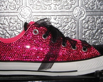 cb81e9630b99 converse  rhinestone converse  converse bling  converse all star  custom  converse  pink converse  wedding shoes  converse with ribbon laces