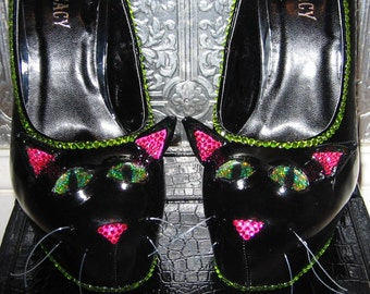 black cat heels with rhinestones and glittered soles