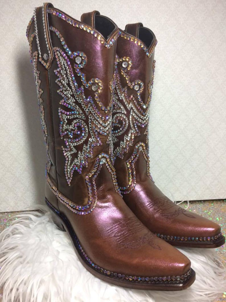 8573c3d3b94 bling cowboy boots/ rhinestone boots/ custom boots/ custom cowboy boots/  boots with rhinestones/ pink rose boots/ sparkle cowboy boots