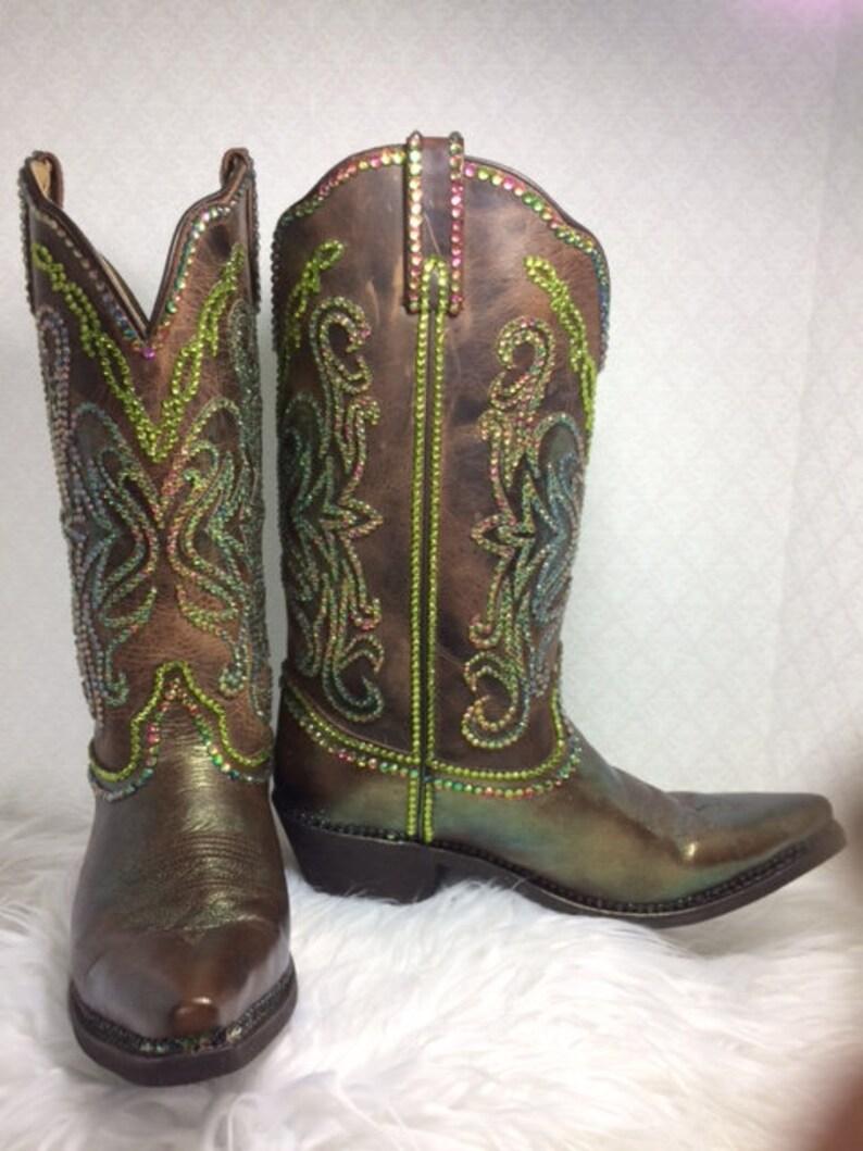 9a6f2fe2085 cowboy boots/ custom boots/ rhinestone cowboy boots/ rodeo queen boots/  bling riding boots/ western boots/ color change boots/ bling boots