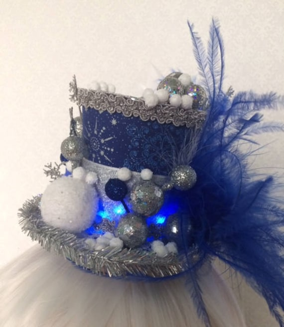 Mini top hat  hat with lights  winter party hat  blue silver  1636b26e587