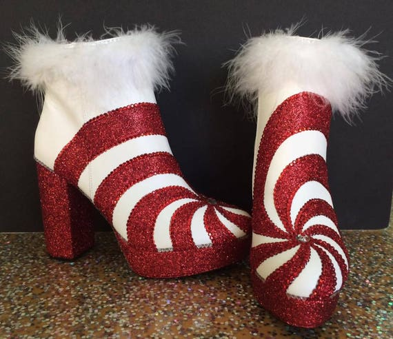 c66d562f7e21a red and white boots/ peppermint boots/ candy cane boots/ holiday boots/ mrs  claus boots/ christmas boots/ glitter boots/ red white swirl