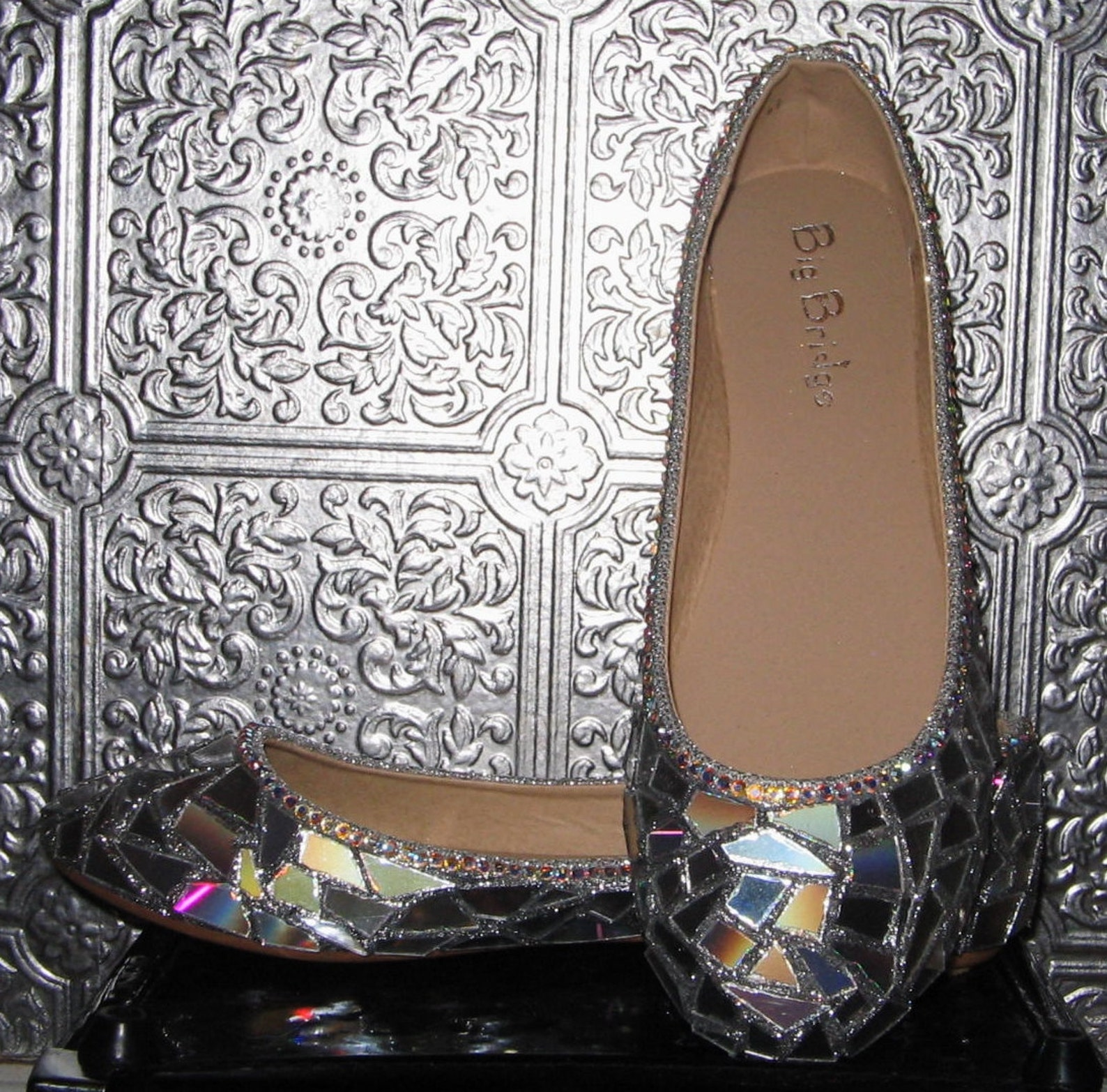broken mirror shoes/ silver flats/ disco ball flats/holiday party shoes/ silver glitter ballet flats/ hologram shoes/ rhinestone