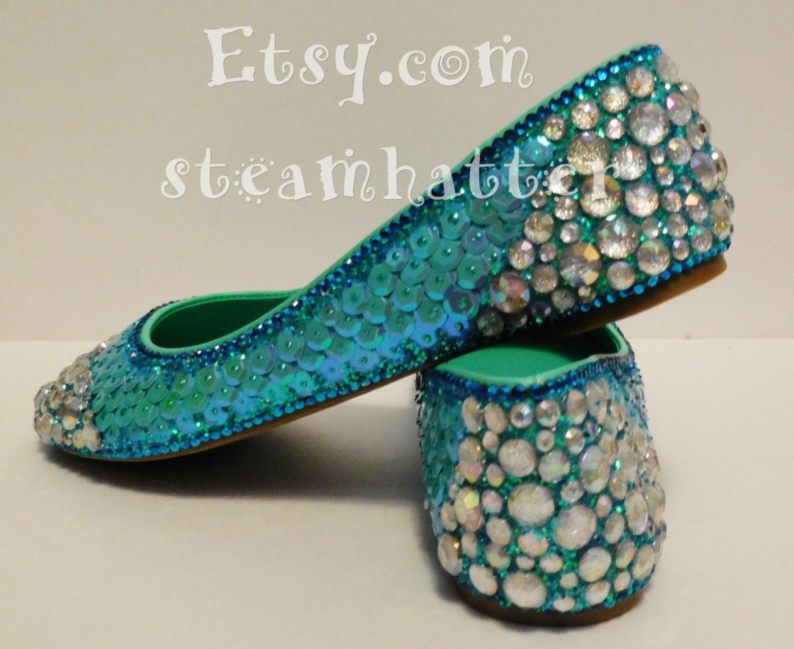 mermaid/ mermaid shoes/fish scale shoes/ mermaid flats/ custom ballet flats/ flats with scales/ glitter shoes/bling flats/custom