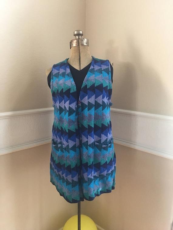Vintage French Rags USA Long Knit Vest Geometric C