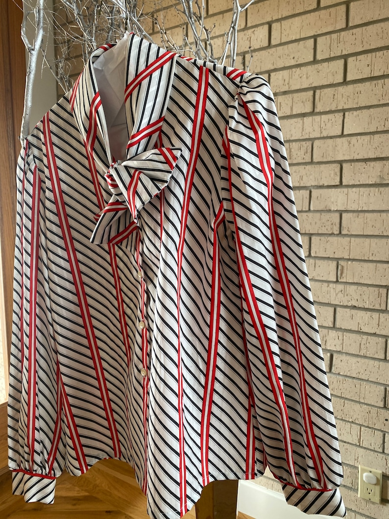 Vintage 80\u2019s Jonquil Pussy Bow Long Sleeve Button Down Blouse Red White Black Size 14 FREE SHIPPING