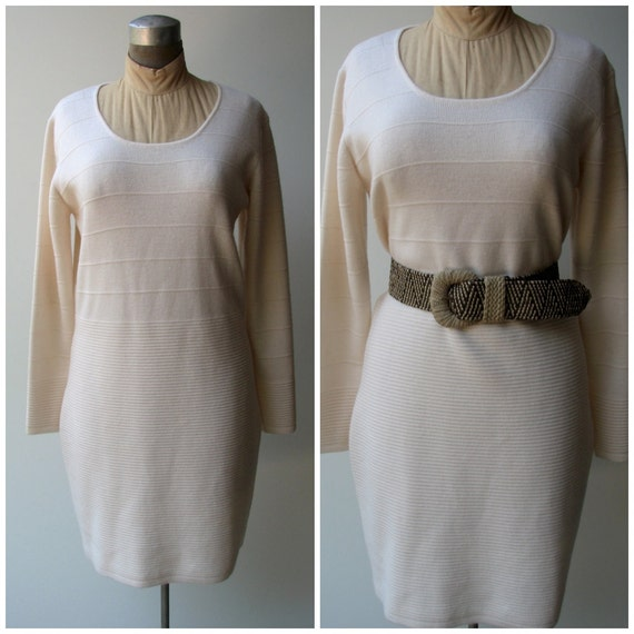 Vintage Sweater Dress Cream Colored Wool With Striped Detail Etsy