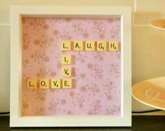 Scrabble letter art - motivational quote - Live Laugh Love