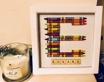 personalised crayon initial framed wall art scrabble letter name crayons childrens bedroom