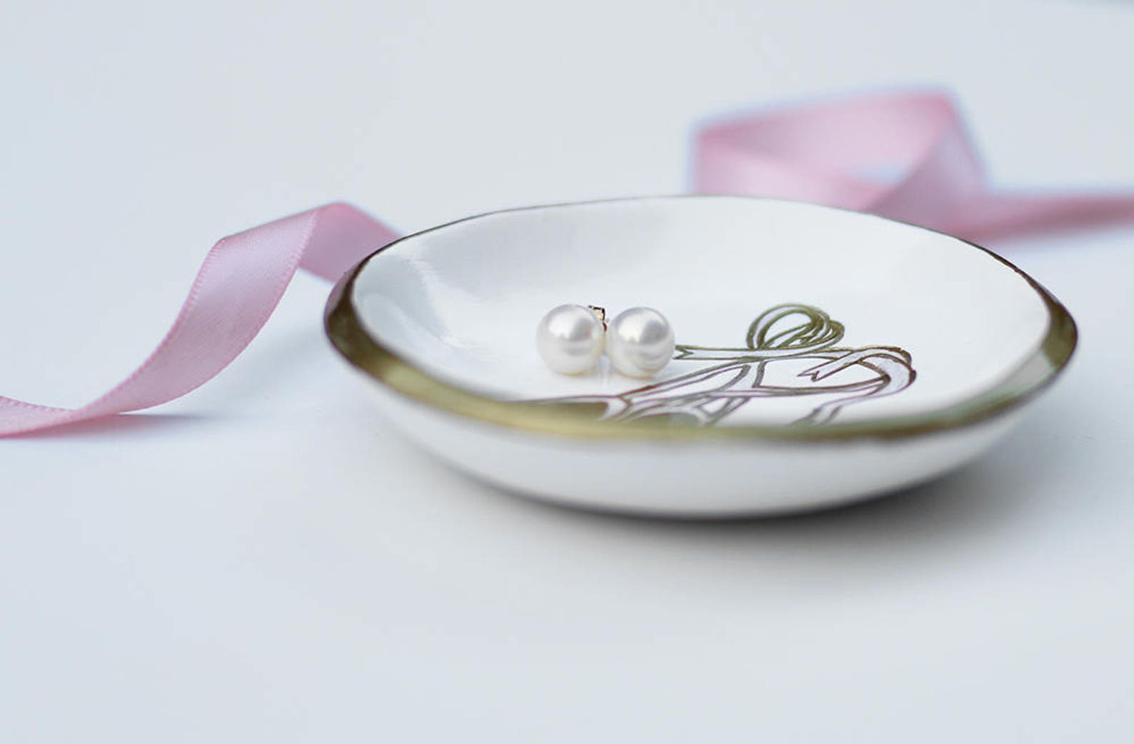 ballet jewelry dish / personalized ring dish / ring holder / pink and gold / unique gift for dancers / gift for bff / dainty gif