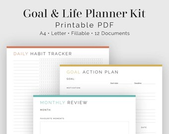 Goal & Life Planner Kit (12 documents) - Fillable - Printable PDF - New Years Resolutions, Life Planner - Goal Planner - Instant Download