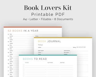 Book Lovers Kit (8 documents) - Fillable - Printable PDF - Book Lovers Kit, Readers Kit - Kit for Readers - Instant Download