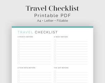 Travel Checklist - Fillable - Travel Planner, Vacation Planner - Printable Organizational PDF - 3 colours - Instant Download
