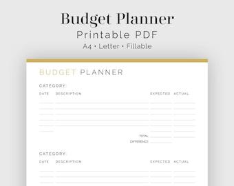 Budget Planner - Fillable - Printable PDF - Finance Planner - Home Management - Business Planner - Instant Download
