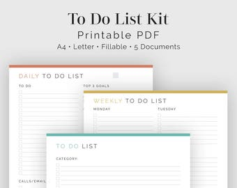 to do list bundle 5 documents fillable printable pdf task management productivity planner business planner instant download