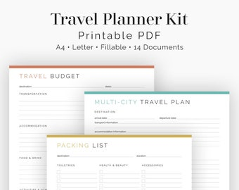 Travel itinerary template | Etsy