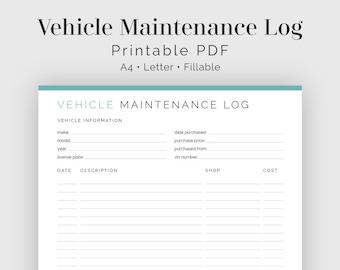 vehicle maintenance log auto maintenance fillable printable pdf household management instant download