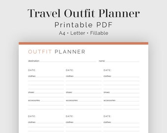 Travel Outfit Planner - Fillable - Travel Planner, Vacation Planner - Printable Organizational PDF - 3 colours - Instant Download