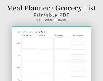 weekly meal plan etsy