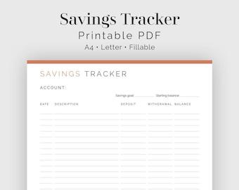 Savings Tracker - Fillable - Printable PDF - Finance Planner - Home Management - Business Planner - Instant Download