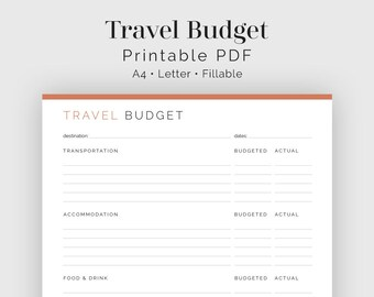 Travel Budget - Fillable - Travel Planner, Vacation Planner, Travel Finances - Printable Organizational PDF - 3 colours - Instant Download