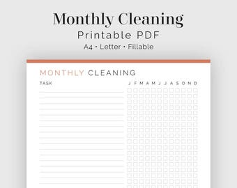 Monthly Cleaning Checklist - Fillable - Printable PDF - Household Binder, Cleaning Kit - Instant Download