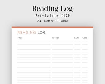 Reading Log, Books Read log - Fillable - Printable PDF - Readers Kit, Book Lovers - Instant Download