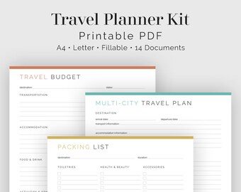 travel planner weekly itinerary week overview fillable etsy