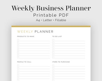 Weekly Business Planner - Fillable - Printable PDF - Business Planner - Business To Do List - Instant Download