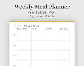 weekly meal planner etsy