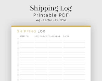 Shipping Log - Fillable - Printable PDF - Business Planner - Instant Download