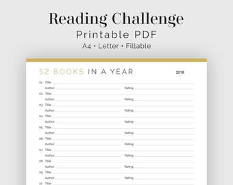 Reading Challenge: 52 Books in a Year - Fillable - Printable PDF - Readers Kit, Book Lovers - Instant Download
