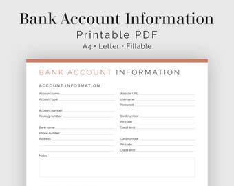Bank Account Information - Fillable - Printable PDF - Finance Planner - Business Planner - Instant Download