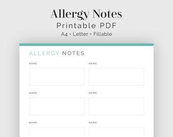 Allergy Notes - Fillable - Food & Medicine Allergies - Household Binder, Menu Plan - Printable PDF - 3 colours - Instant Download