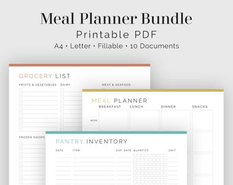 Meal Planner Bundle - 10 documents - Fillable - Printable PDF - Household Management, Grocery List, Recipe Page - Instant Download