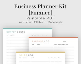 Business Planner Kit - Finance (11 Documents) - Fillable - Printable PDF - Bundled Kit - Business Planner Planner - Instant Download