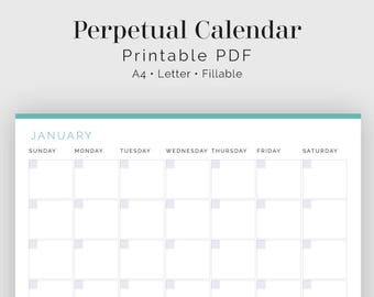 Perpetual Calendar - Fillable - Printable PDF - Business Planner - Time Tracker - Household Binder - Instant Download