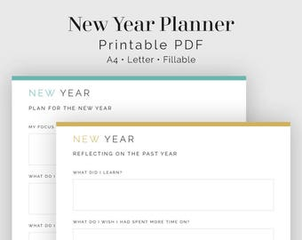 New Years Reflections and Plan - Fillable - Printable PDF - New Year Resolution, Life Planner -  Home Management - Instant Download