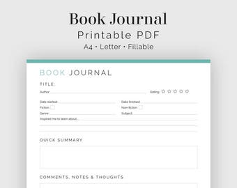 Book Journal, Book Log - Fillable - Printable PDF - Readers Kit, Book Lovers - Instant Download